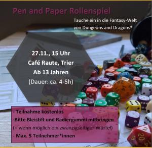 Pen and Paper (für Mittel- und Oberstufe) @ Jugendcafé Raute
